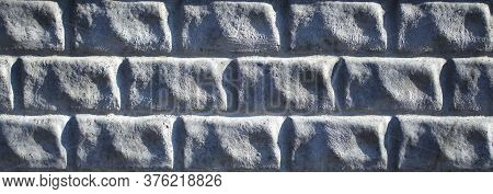 Light-grey Decorative Stone Wall, Made Of Regular Shape Bricks Imitation, Background, Texture. Textu