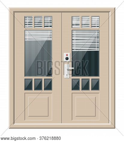 Wooden Cottage Door With Windows And Window Blind. Closed Door With Chrome Handle And Bell Button At
