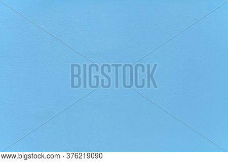 Metallic Wall Background, Texture. Sky-blue Smooth Painted Surface. The Wall Sketch, Painted With Bl