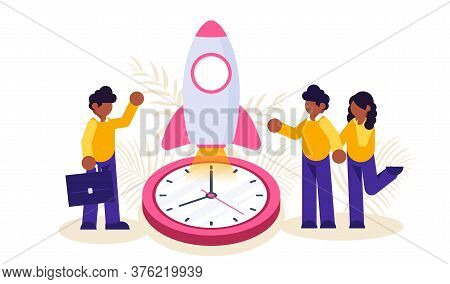 Concept Of Business Start Up. Businessman And Woman Start Rocket On Clock Background. Modern Flat Il