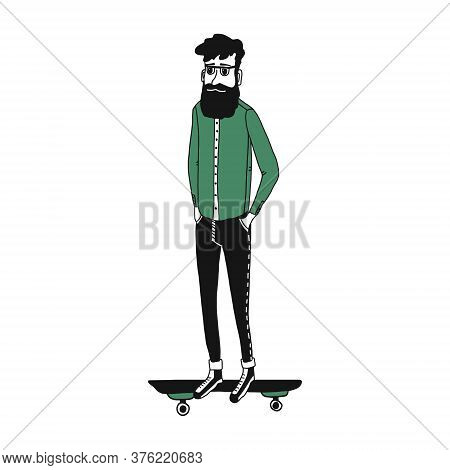 Cool Hipster Character With A Beard On A Skateboard. An Adult Man In Glasses, Jeans And Sneakers Rid
