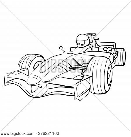Racing Car Sketch, Ship, Coloring Book, Isolated Object On White Background, Vector Illustration, Ep