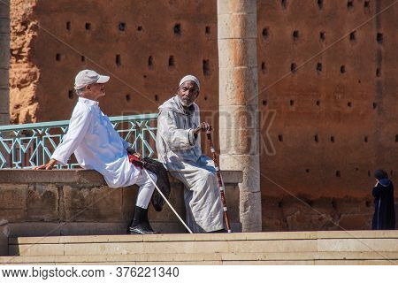 Rabat, Morocco - Oct 13, 2019: People In Front Of The Hassan Tower And Mausoleum Of Mohammed V. Maus