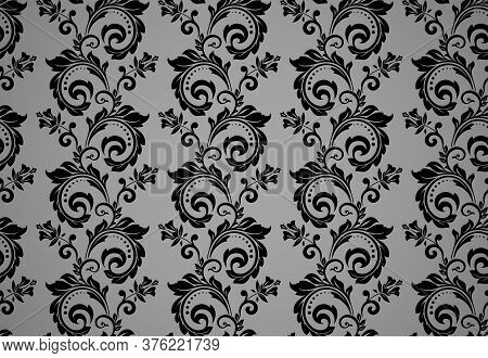 Floral Pattern. Vintage Wallpaper In The Baroque Style. Seamless Vector Background. Black And Gray O