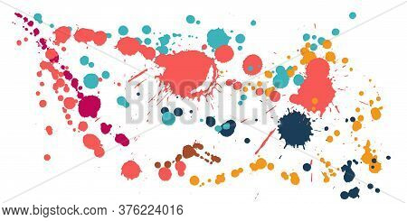 Ink Stains Grunge Background Vector. Funky Ink Splatter, Spray Blots, Dirt Spot Elements, Wall Graff