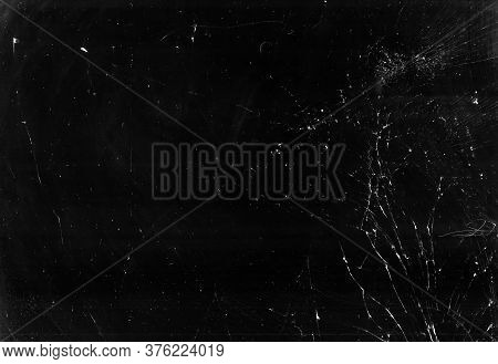 Dirty Broken Glass. Smashed Screen Texture. Black Weathered Tablet Display With White Dust Scratches