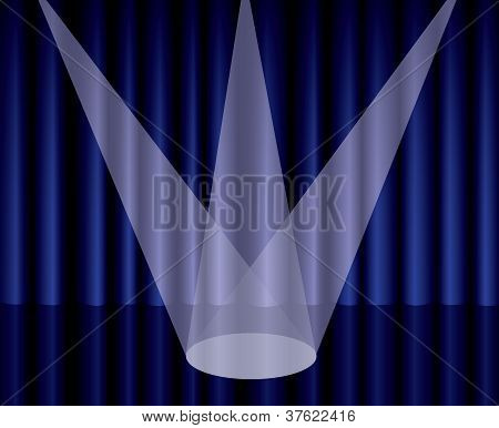 Blue Theater Curtain With Spotlight