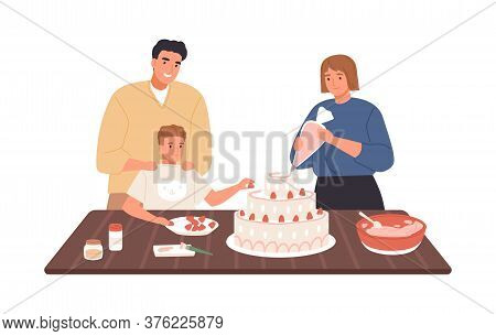 Happy Family Decorating Homemade Cake With Whipped Cream And Strawberry Vector Flat Illustration. Mo