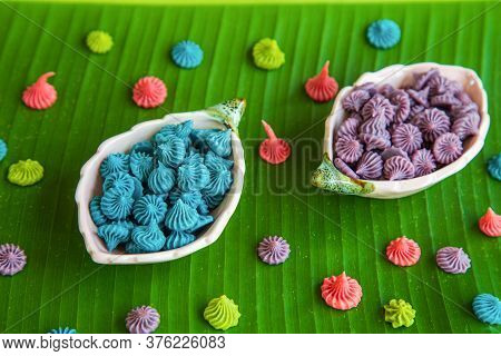 Top View Close Up Allure Thai Handmade Candy In A Mini Bowl On Banana Leaves. A-lua Or Allure Is Tra