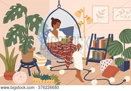 Relaxed Black Skin Woman Sitting In Comfy Hanging Chair Vector Flat Illustration. Female Covering Pl