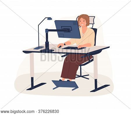 Happy Female Office Worker Sitting On Chair At Ergonomic Workstation Vector Flat Illustration. Moder