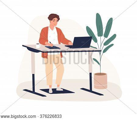 Male Designer Working At Modern Ergonomic Workplace Vector Flat Illustration. Smiling Man Standing B