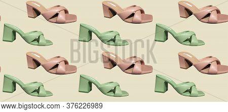 Seamless Pattern Of Elegant Fashionable Summer Leather High-heel Stylish Women's Sandals. Compositio