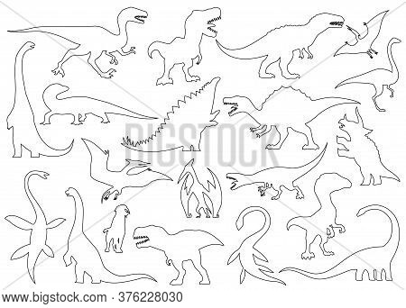 Dinosaur Silhouettes Set. Coloring Dino Monsters Icons. Prehistoric Reptile Monsters. Vector Illustr