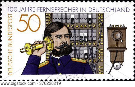 02 08 2020 Divnoe Stavropol Territory Russia The Germany Postage Stamp 1977 The 100th Anniversary Of