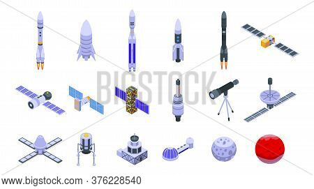 Space Station Icons Set. Isometric Set Of Space Station Vector Icons For Web Design Isolated On Whit