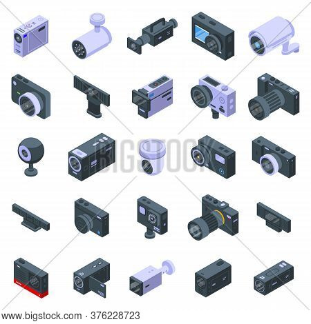 Camcorder Icons Set. Isometric Set Of Camcorder Vector Icons For Web Design Isolated On White Backgr