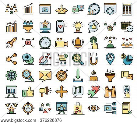 Smm Icons Set. Outline Set Of Smm Vector Icons Thin Line Color Flat On White