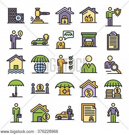 Insurance Agent Icons Set. Outline Set Of Insurance Agent Vector Icons Thin Line Color Flat On White