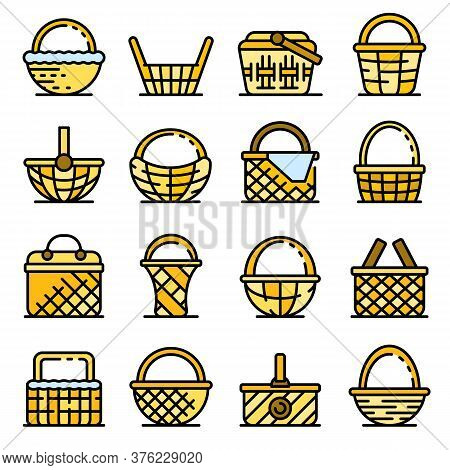 Wicker Icons Set. Outline Set Of Wicker Vector Icons Thin Line Color Flat On White
