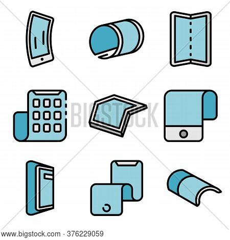 Flexible Display Icons Set. Outline Set Of Flexible Display Vector Icons Thin Line Color Flat On Whi