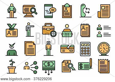 Unemployed Icons Set. Outline Set Of Unemployed Vector Icons Thin Line Color Flat On White
