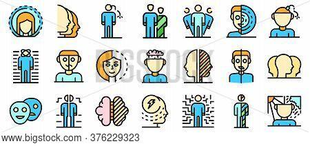 Bipolar Disorder Icons Set. Outline Set Of Bipolar Disorder Vector Icons Thin Line Color Flat On Whi