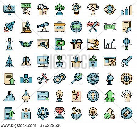 Startup Icons Set. Outline Set Of Startup Vector Icons Thin Line Color Flat On White