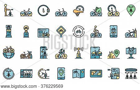 Rent A Bike Icons Set. Outline Set Of Rent A Bike Vector Icons Thin Line Color Flat On White