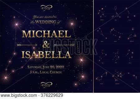 Wedding Invitation Card With Starry Night Sky Design. Galaxy, Open Space, Stars, Constellations Set