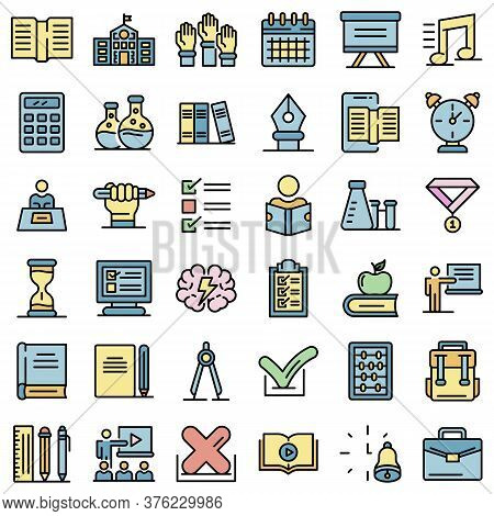 Lesson Icons Set. Outline Set Of Lesson Vector Icons Thin Line Color Flat On White