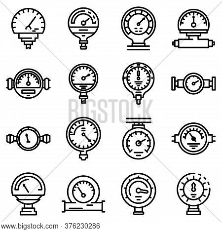 Manometer Icons Set. Outline Set Of Manometer Vector Icons For Web Design Isolated On White Backgrou