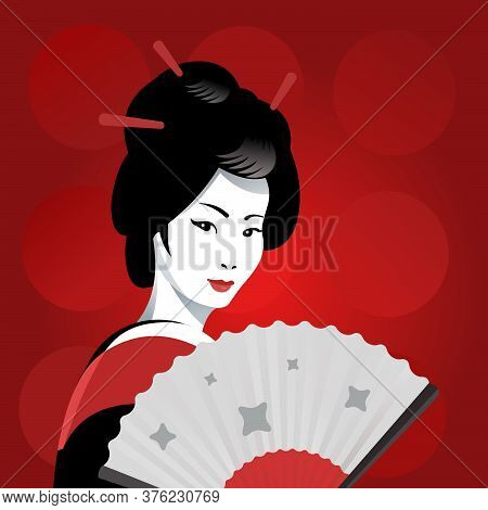 Japanese Geisha Girl With A Fan On A Red Background. Vector Illustration
