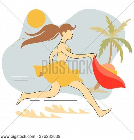 Vector Abstract Graphic Cartoon Summer Time Collection Flat Illustrations With Beauty Running Girl C