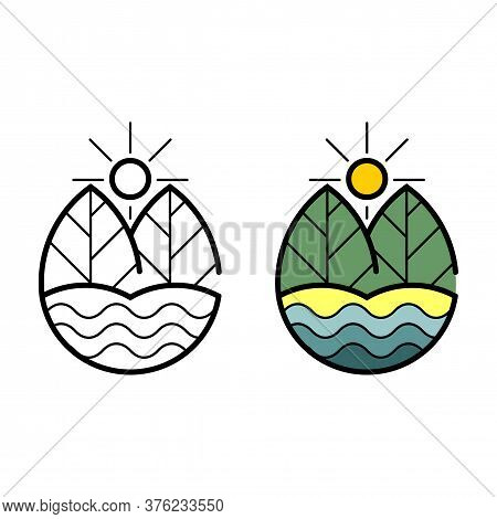 Initial Gm Logo. Leaves And Blue Ocean Icon, Logo Isolated On White Background. Water Pollution, Des