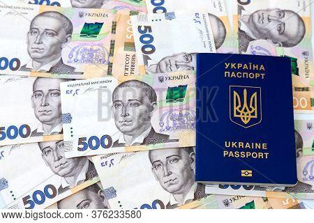 Foreign Biometric Passport With Inscription In Ukrainian - Passport Ukraine, With New Banknotes 500