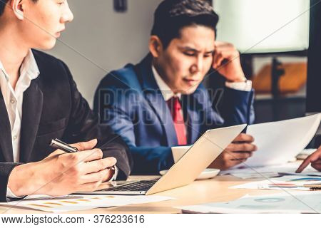 Unhappy Business People Dispute Work Problem At Office . Business Bankrupt Failure And Loss Concept