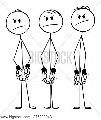 Vector Cartoon Stick Figure Drawing Conceptual Illustration Of Angry Rough Arrested Men, Gang Or Cri