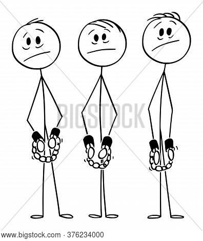 Vector Cartoon Stick Figure Drawing Conceptual Illustration Of Frustrated Arrested Men, Gang Or Crim
