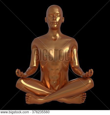 Golden Man Meditate Yoga Lotus Pose Stylized Character Portrait. Human Body Soul Mind Nirvana Balanc