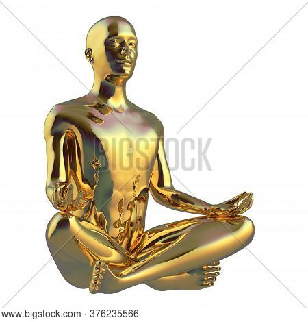 Religion Man Sitting Lotus Pose Yoga Character Stylized Figure Golden Polished. Peaceful Nirvana Med
