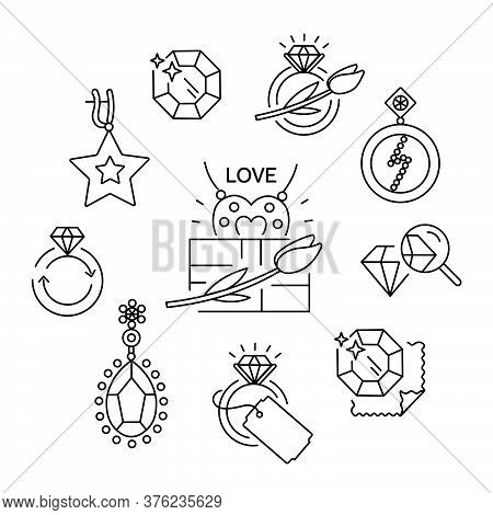 Jewelry Icons, Jewelry Theme, Jewelry Store, Infographics. Vector Outline Illustration