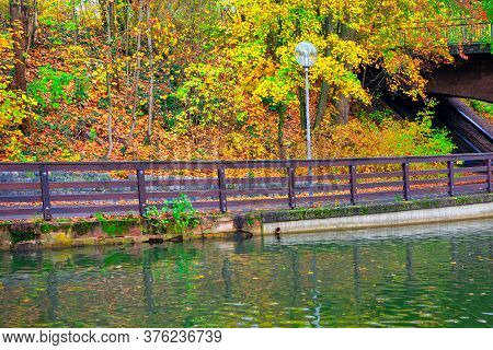 Water Canal With Balustrade In Autumn . Walking In The Fall Season