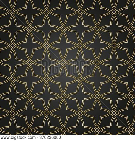 Seamless Vector Black And Golden Ornament In Arabian Style. Geometric Abstract Background. Pattern F