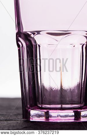 Cleam Glassware Faceted Glass Cup. White Isolated Background.