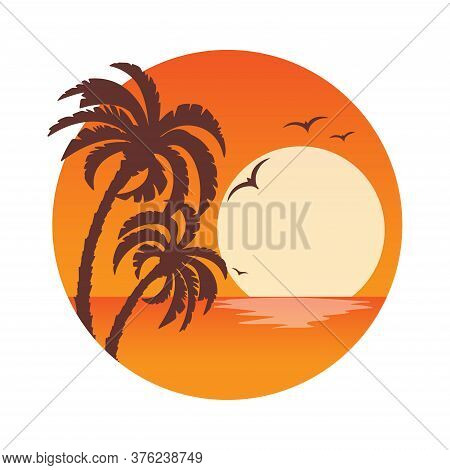 Tropical Landscape With Palm Trees Silhouettes On An Orange Background With A Circle .sunset. Icons