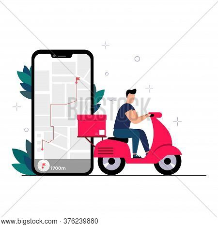 The Concept Of Online Delivery Service, Online Order Tracking, Home And Office Delivery. The Courier
