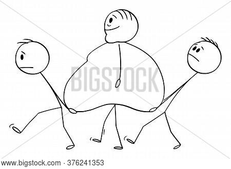 Cartoon Stick Figure Drawing Conceptual Illustration Of Obese, Overweight Or Fat Man Walking With Tw