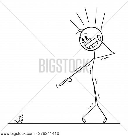 Cartoon Stick Figure Drawing Conceptual Illustration Of Frightened Man With Musophobia Watching Smal