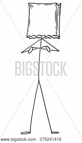 Cartoon Stick Figure Drawing Conceptual Illustration Of Man Or Businessman Standing With Arms Crosse